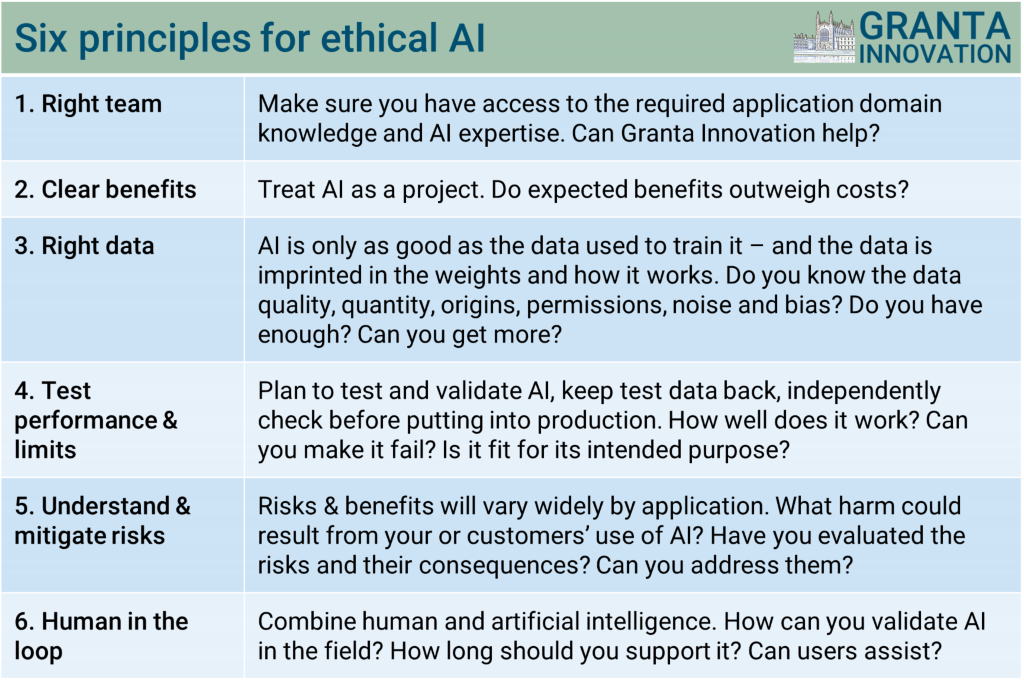 Granta Innovation - 6 principles for ethical use of AI and machine learning